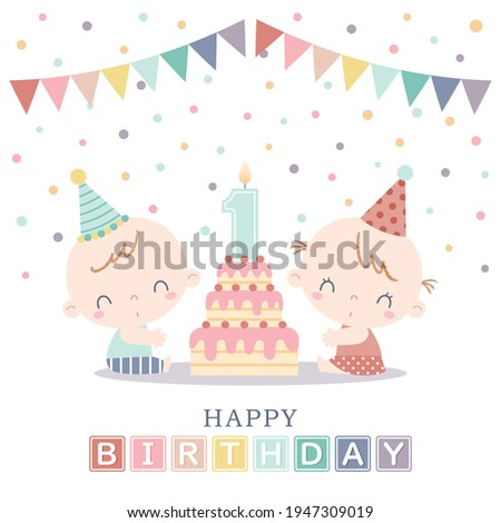 Two babies celebrating their first birthday with layered birthday cake, number candle, garlands, and confetti. Boy and girl twin's first birthday party.