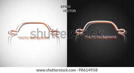two backgrounds with car front silhouettes, EPS10 vector