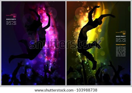 Two backgrounds with Dancing young people in the nightclub