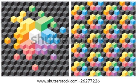 Two backgrounds with pseudo-3d black and multicolored cubes. Seamless vector pattern.