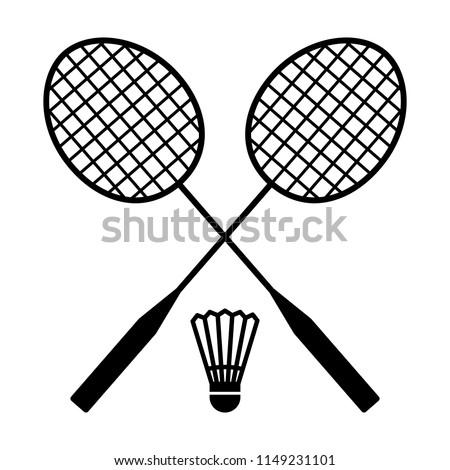 Two badminton racquets or rackets with shuttlecock / birdie line art vector icon for sports apps and websites