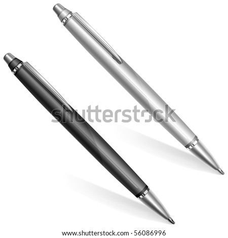 Two ball pens isolated on white background, vector illustration