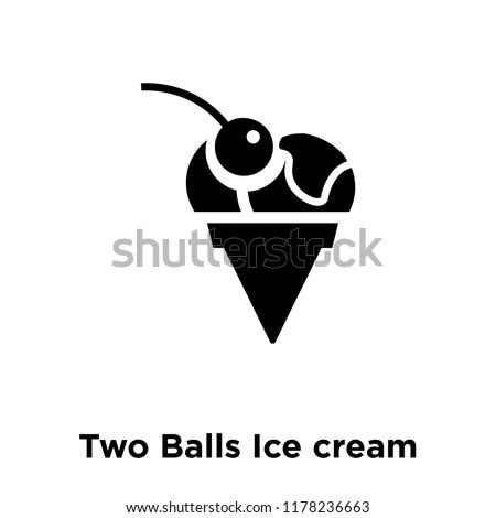 two balls ice cream cone icon