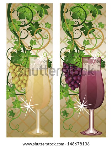 Two banner with wineglasses and grapes, vector illustration