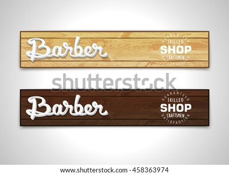 two banners for barbershop