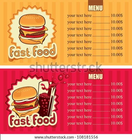 two banners for the fast-food with hamburger and cola