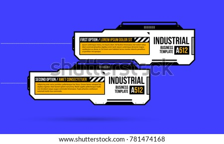 Two banners/options with hi-tech elements in geometric industrial/techno style on deep blue background