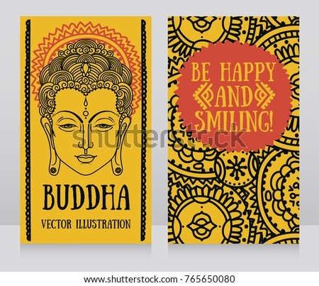Smiling buddha download free vector art stock graphics images two banners with buddha head and ethnic ornament can be used as greeting card for m4hsunfo