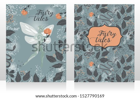 Two banners with cute fairies in the magical forest, magical cards for fairy tales, retro style palette, vector illustration