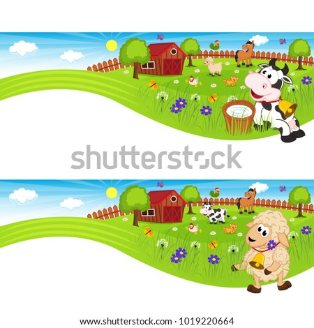 two banners with farm animals in barnyard - vector illustration, eps