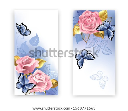 two banners with pink roses