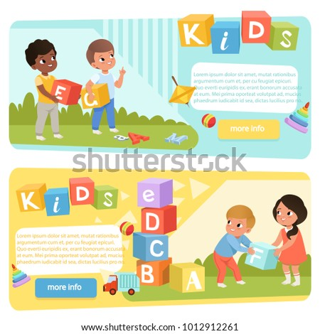 Two banners with preschool kids with colored ABC cubes. Speech therapy. Playful learning. Flat vector design for child development center or kindergarten web site