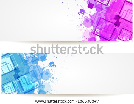 Two banners with purple and blue grunge splash and modern squares elements