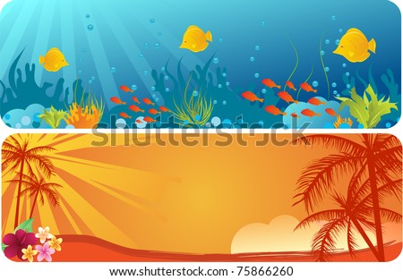 Two banners - with underwater background and palms trees on orange background