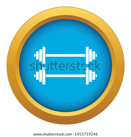 Two barbells icon blue vector isolated on white background for any design