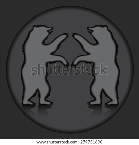 two bear silhouette on the grey