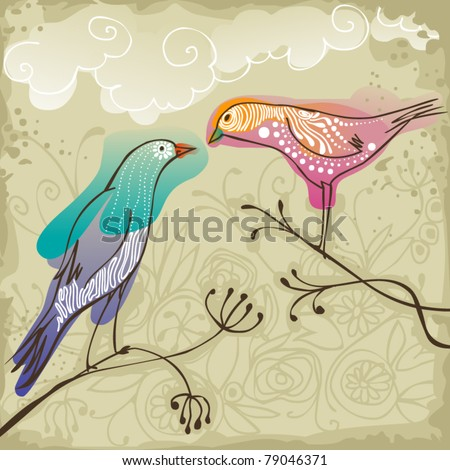two beautiful  birds sitting on branch
