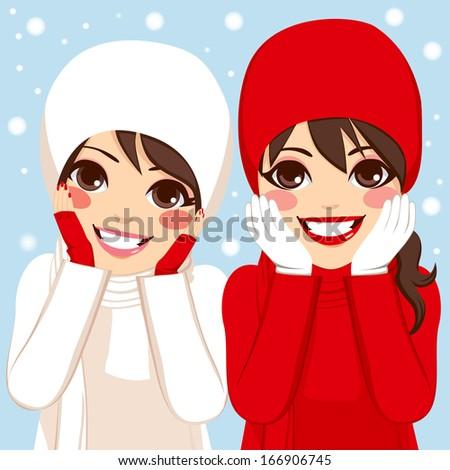 two beautiful brunette women