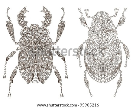 two beautiful bugs,vector illustration