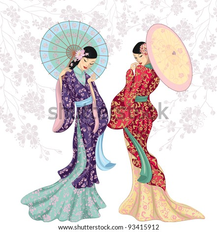 Two beautiful Chinese women with umbrellas isolated over white - stock vector