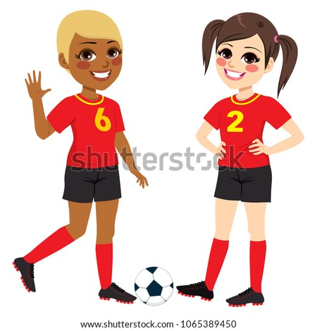 two beautiful diverse soccer
