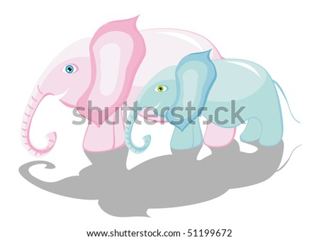 Two beautiful going elephants mother and the kid