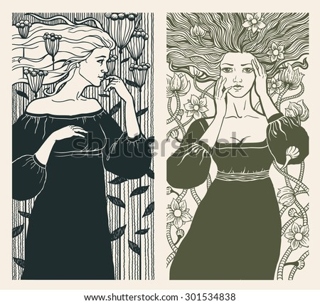 two beautiful women in art