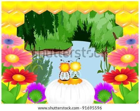 Two bee sitting on a flower and admiring forest river - stock vector