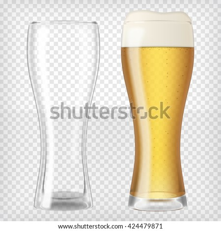 two beer glasses  one empty and