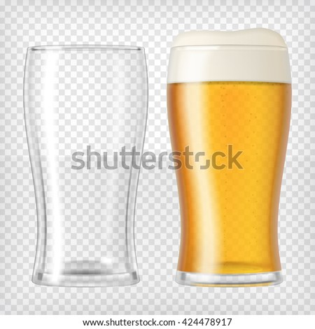 Two beer glasses. One empty mug and one full mug. Glass full with blond beer and foam. Transparent realistic elements. Ready to apply to your design. Vector illustration.