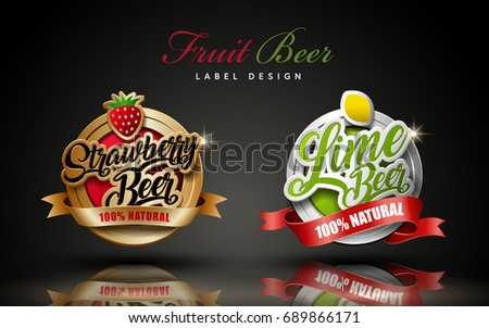 Two beer label design elements, one in bronze and the other in silver color, 3d illustration