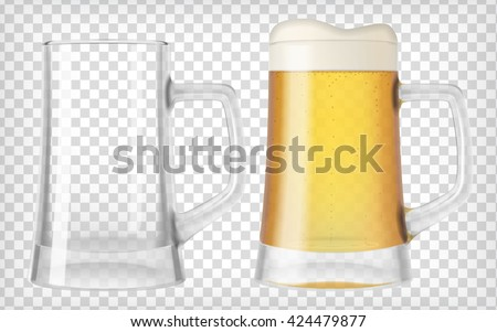 two beer mugs an empty glass