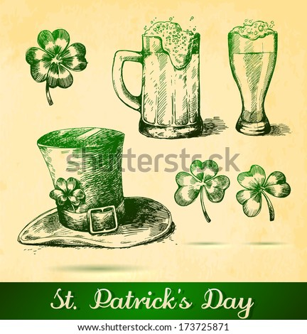 Two beers with clovers for St Patrick's day. St. Patrick's hat with four-leaf clover and paper background