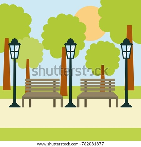 two benches street lamp and
