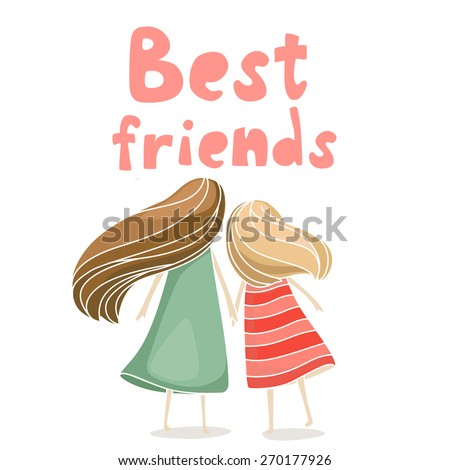 two best friends girls holding