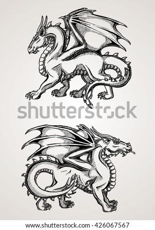 two big dragon black contour
