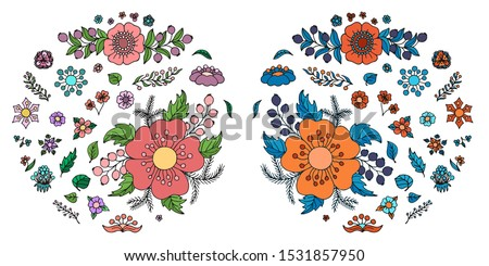Two big sets of flowers, berries and leaves in doodle style. Realistic and non realistic colored isolated nature elements. Decorative cartoon vector illustration