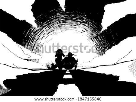 two bikers on a motorcycle with