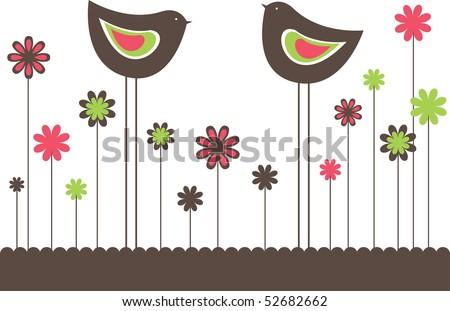 two birda vector illustration