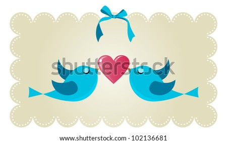 Two birds fall in love holding a red heart background. Vector file available.