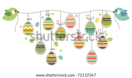 two birds hold rope with easter