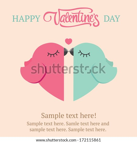 Two birds in love Valentine's day postcard Free space for text message Vector illustration