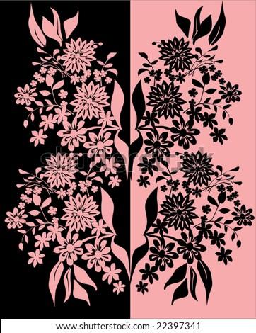 Pink & Black Floral Patterns Vector - pdf magazine