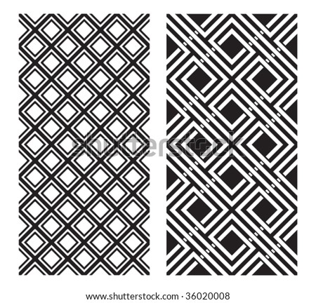 Two Black and White Vector Designs that tiles seamlessly.
