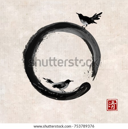 two black birds and black enso