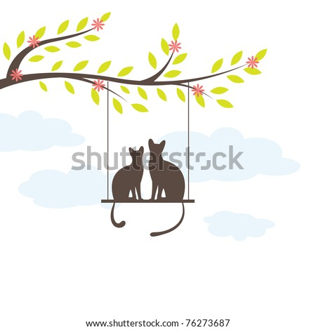 two black cat on  swing and