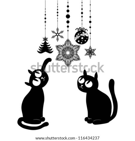 Two Black Christmas Cats