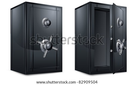 Two black metal bank safes on white, vector illustration