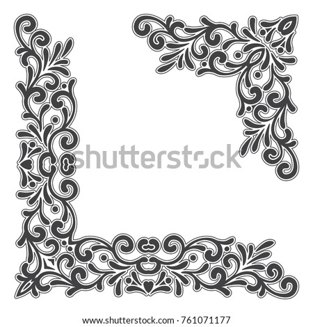 Two Black Vintage Corners With Outline On White Background Elegant Hand Drawn Retro Floral Border
