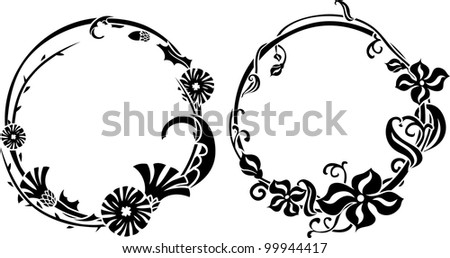 Two black wreath stencil in art nouveau style - stock vector